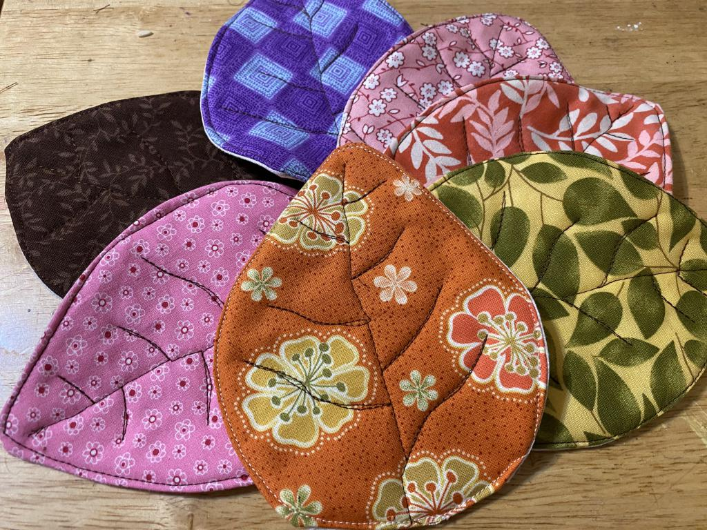 Quilter coaster sets in variety of fabric