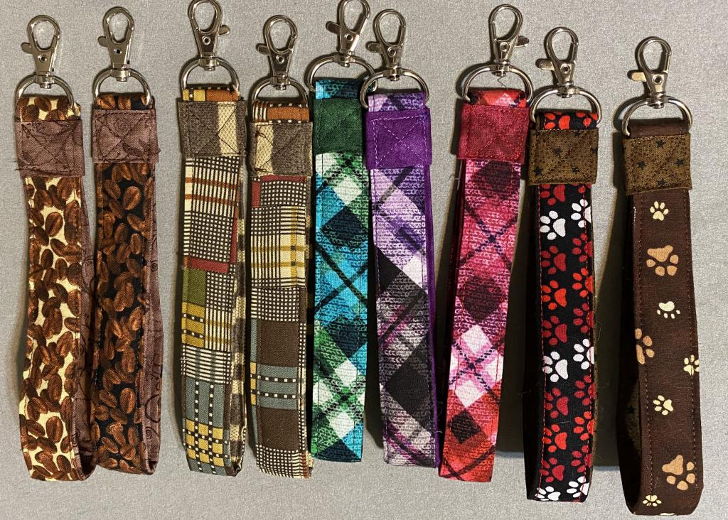 Key chain fobs in a variety of fabric
