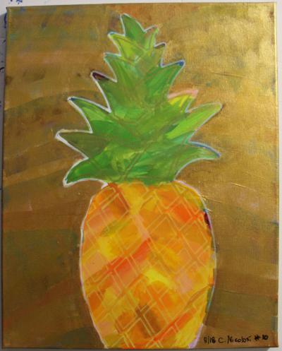 "#10 Acrylic. This pineapple, orange and yellow body, combines flowing green leaves with golden highlights.  It's surrounded by translucent gold and glitter. Size: 16"" x 20"" stretched canvas on wood frame."
