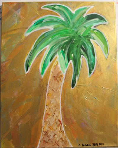 "*SOLD* #12 Acrylic. Palmetto, surrounded by a rainbow collage of color that have been coated with a translucent gold & glitter extending from the fronds. Size: 16"" x 20"" stretched canvas on wood frame."