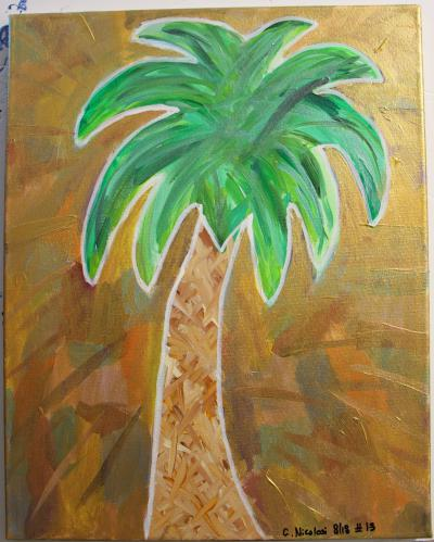 "#13 Acrylic. Palmetto is surrounded by a collage of color that's been coated with translucent gold and glitter. The trunk is a criss cross of browns, tans and sierra.  Size: 16"" x 20"" stretched canvas on wood frame."