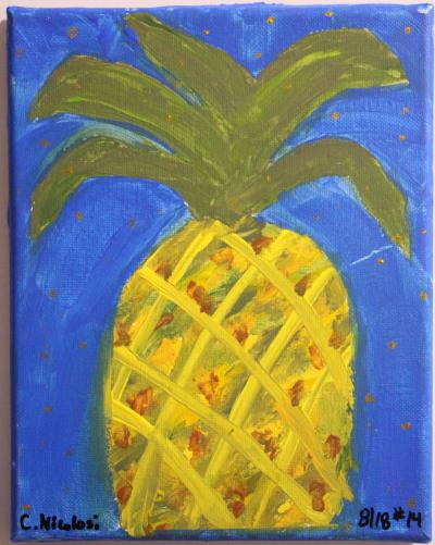 #14 Acrylic. This simple, squat little pineapple has heavy green leaves atop a mixed yellow, orange and brown body. It's surrounded by a rich blue background that has been dotted with gold. Size: 8 x 10 Canvas Panel.