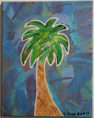 "#15 Palmetto is surrounded by a collage of color that has been coated with a translucent blue, glitter extending from the blended greeen fronds and speckles of gold.  Size: 11"" x 14"" canvas panel."