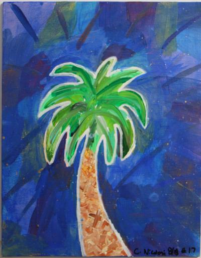 "#17 Palmetto, surrounded by a collage of color coated with a deep blue, glitter and gold speckles. Size: 11"" x 14"" stretched canvas with wooden frame."
