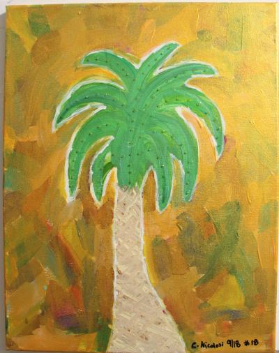 "#18 Palmetto, surrounded by a collage of color that has been coated with a translucent gold and glitter extending from the fronds.  Size: 14"" x 17"" stretched canvas on wood frame."