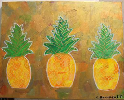 "#19 The Triple Threat Pineapples, surrounded by a various color, coated with translucent gold and glitter. Size:  16"" x 20"" on stretched canvas and wooden frame."