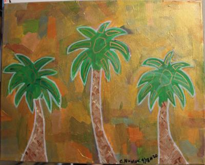 "#20 The Triple Threat Palmettos are surrounded by a variety of color that has been coated with translucent gold and gold glitter.  Size:  16"" x 20"" on stretched canvas and wooden frame."