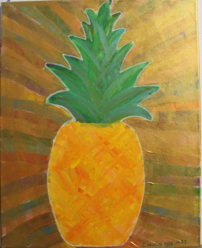 "#21 Acrylic. This pineapple is surrounded by a various color extending outward that have been coated in translucent gold and glitter. Size: 16"" x 20"" stretched canvas on wooden frame."