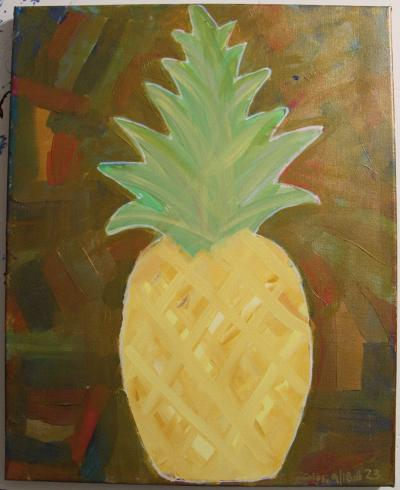 "#23 Acrylic. Pineapple with chalky acrylic paint, soft oranges and yellows, surrounded by various colors and coated with translucent bronze. Size: 16"" x 20"" stretched canvas on wood frame."