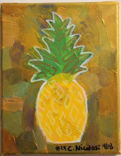 #24 Acrylic. This small pineapple has leaves with blended greens with bits of fused paper, yellows and peaches and collage of color, coated with a deep gold. Size: 8 x 10 stretched canvas on wooden frame.