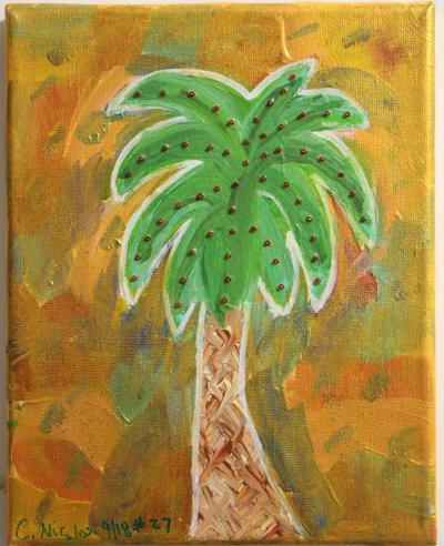 "#27 Acrylic. Palmetto is surrounded with a shiny, translucent gold and studded with red glass beads.   Size: 8"" x 10"" stretched canvas on wooden frame."