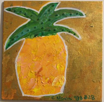 "#28 Acrylic. This squat little pineapple was drawn in a primitive style, studded with green glass beads and surrounded with shiny gold paint. Size: 6"" x 6"" hard canvas panel."