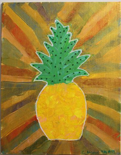 "#29 Acrylic. This pineapple (reds, yellows, oranges and peaches) is the center of various outward racing lines of color, leaves are studded with green glass beads. Size: 11"" x 14"" stretched canvas on wooden frame."