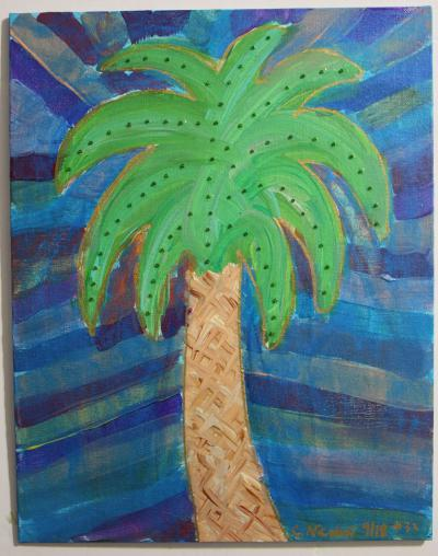 "#32 Acrylic. Palmetto surrounded colors extending outward. The leaves have blended greens and are studded with green glass beads. Size: 9"" x 12"" hard canvas panel."