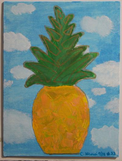 "#33 Acrylic. This pineapple in peaches and oranges floats in a sky of clouds, blended green leaves & highlighted with gold paint. Size: 8"" x 10 hard canvas panel."