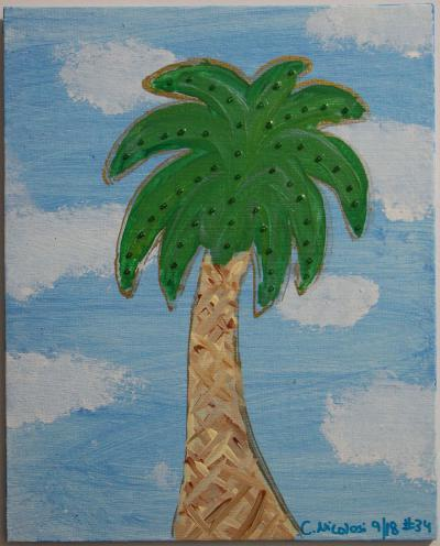 "#34 Acrylic. This palmetto is surrounded by light blue sky and puffy clouds. blended greens and are studded with green glass beads. Size: 8"" x 10"" hard canvas panel."