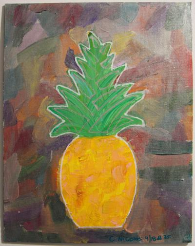 "#35 Acrylic. This pineapple in yellows, oranges and browns, has blended green leaves that have been highlighted in silver, surrounded by translucent silver.  Size: 11"" x 14"" stretched canvas on wooden frame."