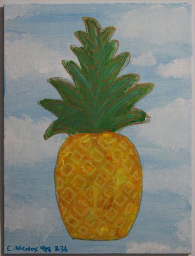 "#36 Acrylic. This pineapple (yellows and oranges) floats in a light blue sky among fluffy clouds.   The blended green leaves are highlighted in gold. Size: 9"" x 12"" hard canvas panel."