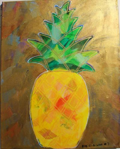 "#7 Pineapple with flowing green leaves & golden highlights and orange and yellow body,  fused paper. Surrounding background color are coated with translucent gold and glitter.   Size: 16"" x 20"" stretched canvas on wood frame."