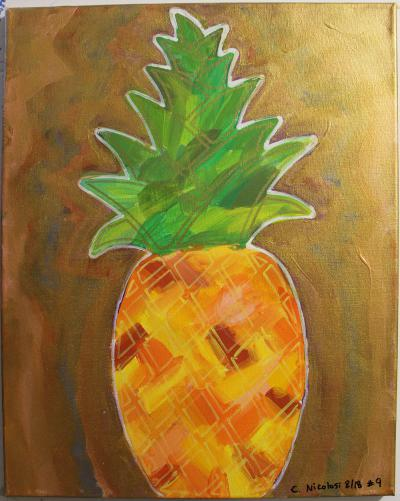 "#9 Pineapple with flowing green leaves & golden highlights and orange and yellow body, fused paper, surrounding background color are coated with translucent gold and glitter.  Size: 16"" x 20"" stretched canvas on wood frame."
